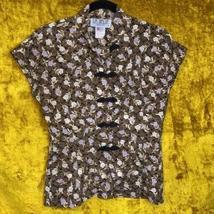La Belle Vintage Made in USA Floral Button Top szS